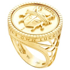 Stephen Webster Flipside Sovereign 18ct Yellow Gold and Black Enamel Signet Ring