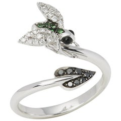 Stephen Webster Fly by Night 18 Carat White Gold Tsavorite And Diamond Ring