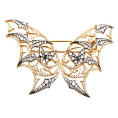 Stephen Webster Fly by Night 18 Karat Yellow Gold Diamond Batmoth Brooch