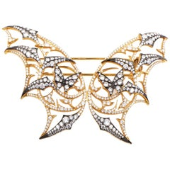 Stephen Webster Fly by Night 18 Karat Yellow Gold Diamond Batmoth Brooch