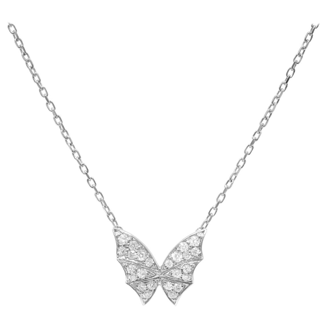 Stephen Webster Fly by Night 18 Carat White Gold and White Diamond Pavé Necklace
