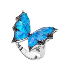 Stephen Webster Fly by Night Black Opalescent Crystal Haze and Diamond Ring