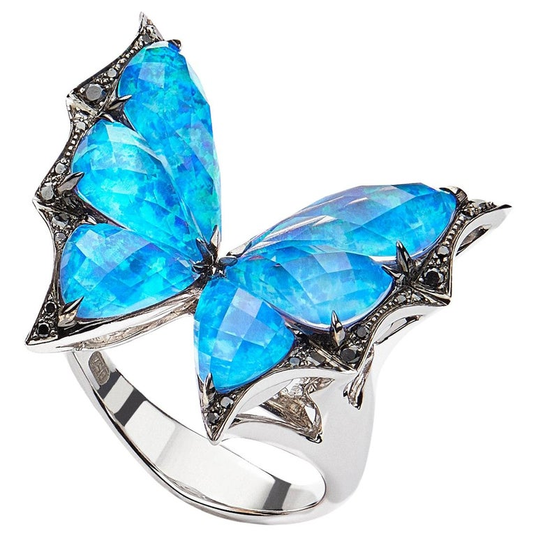 Stephen Webster Fly by Night Black Opalescent Crystal Haze and Diamond Ring For Sale