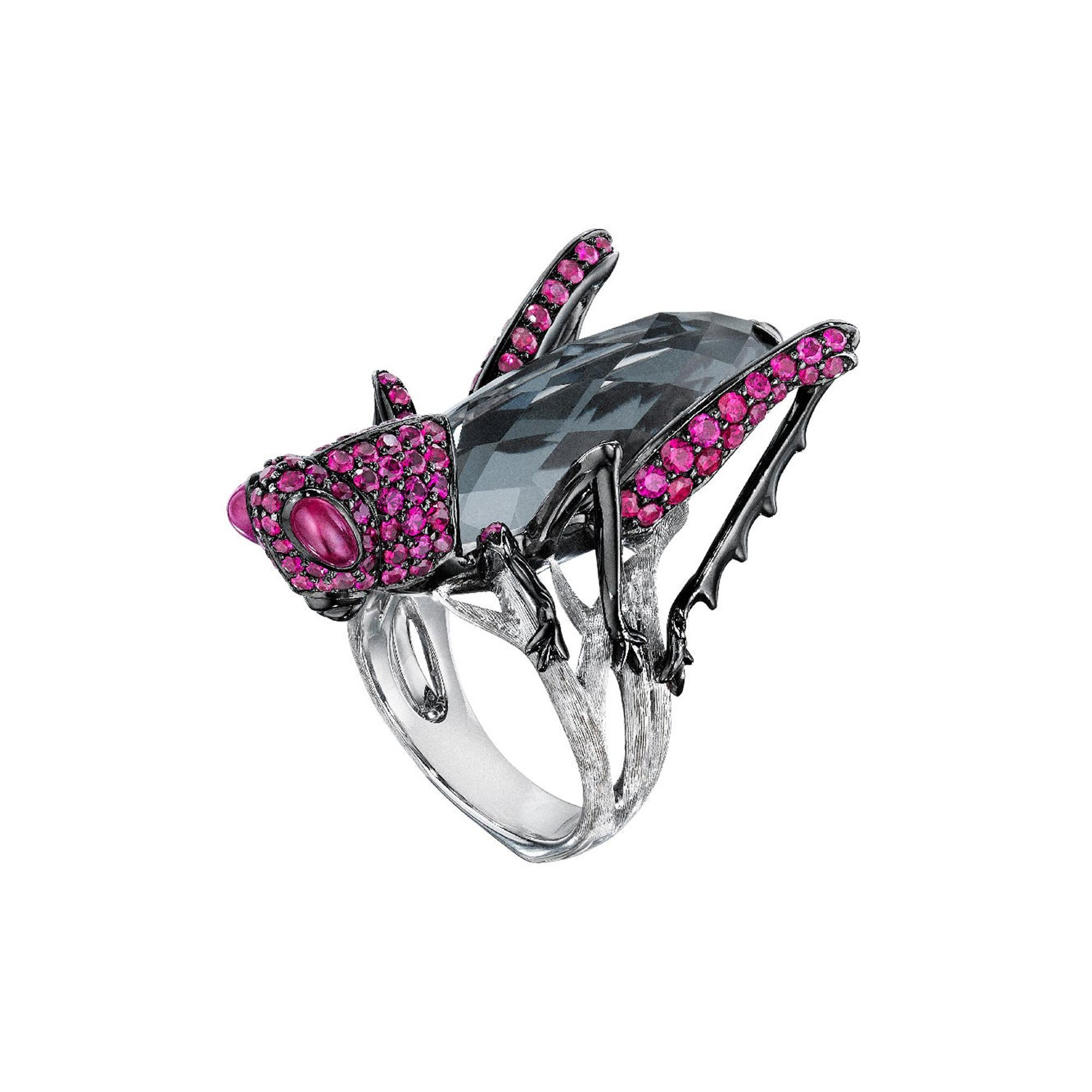 Stephen Webster Fly by Night Crystal Haze Grasshopper 18ct white Gold Ring