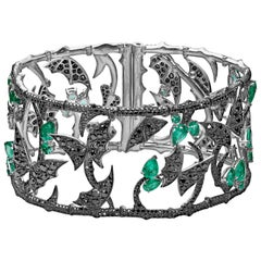 Stephen Webster Fly by Night Emerald and 18 Carat White Gold Forest Cuff