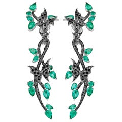 Stephen Webster Fly by Night Emerald and 18 Carat White Gold Forest Earrings