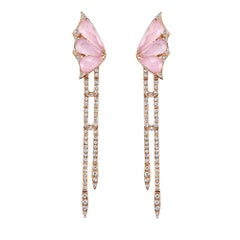 Stephen Webster Fly by Night Pink Opal Crystal Haze and White Diamond Earrings