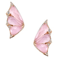 Stephen Webster Fly by Night Pink Opal Crystal Haze and White Diamond Earstuds