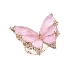 Stephen Webster Fly by Night Pink Opal Crystal Haze and White Diamond Large Ring