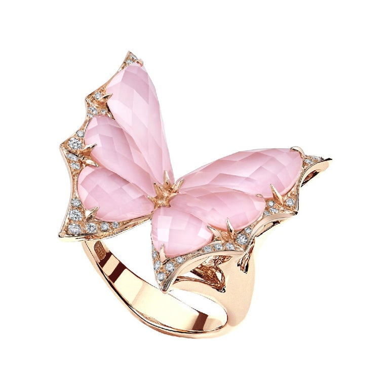 For Sale: undefined Stephen Webster Fly by Night Pink Opal Crystal Haze and White Diamond Ring