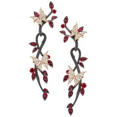 Stephen Webster Fly by Night Ruby and 18 Carat Rose Gold Forest Earrings