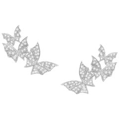 Stephen Webster Fly by Night White Gold and White Diamond Pavé Triple Earrings