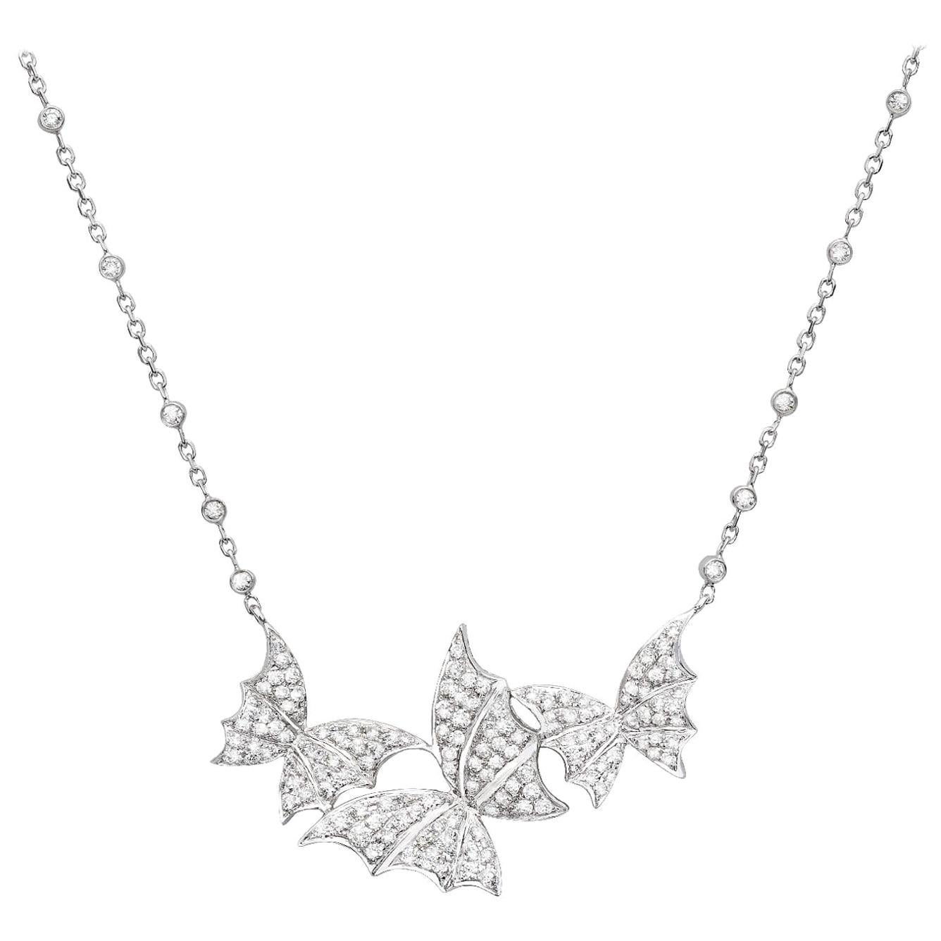 Stephen Webster Fly by Night White Gold and White Diamond Pavé Triple Necklace