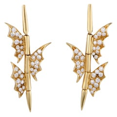 Stephen Webster Fly by Night Yellow Gold Diamond Dangle Earrings