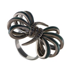 Stephen Webster Forget Me Knot Enameled Silver and Black Sapphire Pave Bow Ring