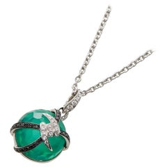 Stephen Webster Forget Me Not 18 Carat Gold Diamond and Green Agate Necklace