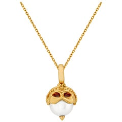Stephen Webster Gemini Astro Ball 18 Karat Yellow Gold and White Pearl Pendant