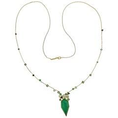 Stephen Webster Gold Struck Agate Emerald Diamond Tourmaline Necklace