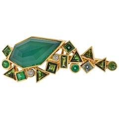 Stephen Webster Gold Struck Diamond Emerald Agate Two Finger Ring