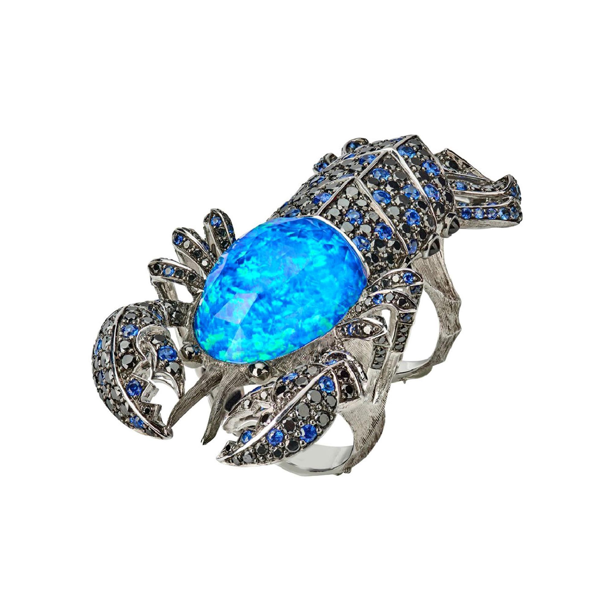 Stephen Webster Jewels Verne Lobster Crystal Haze Long Finger 18ct Gold Ring