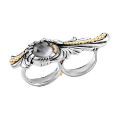 Stephen Webster Jewels Verne Silver Cat's Eye and Quartz Double Finger Ring