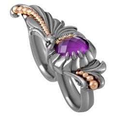 Stephen Webster Jewels Verne Sterling Silver Sugilite and Quartz Two-Finger Ring