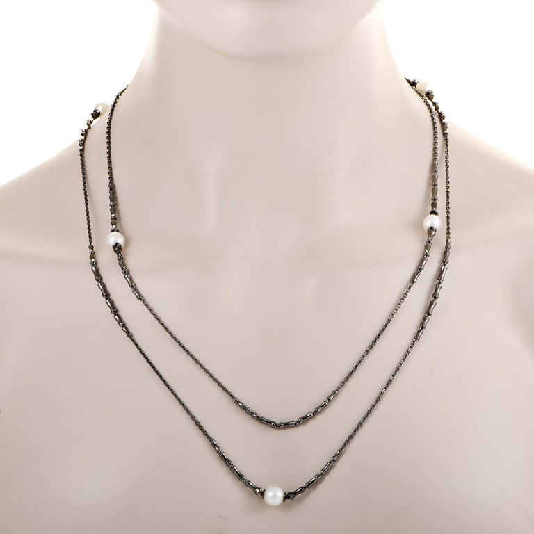 Stephen Webster Jewels Verne Womens Blackend Silver and Pearl Sautoir Necklace In New Condition For Sale In Southampton, PA