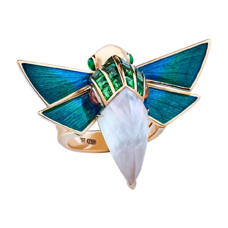 Jitterbug Cuckoo Bee gold and white mother-of-pearl ring