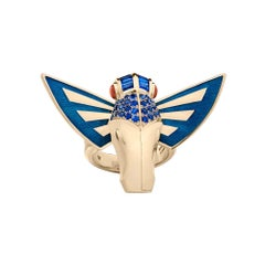Stephen Webster Jitterbug Horse Fly 18 Carat Gold with Blue Enamel Wings Ring