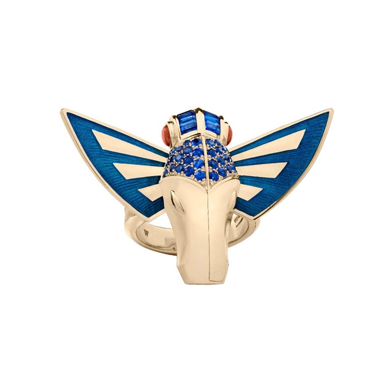 For Sale: undefined Stephen Webster Jitterbug Horse Fly 18 Carat Gold with Blue Enamel Wings Ring