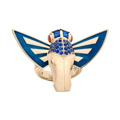 Stephen Webster Jitterbug Horse Fly 18 Karat Gold with Blue Enamel Wings Ring