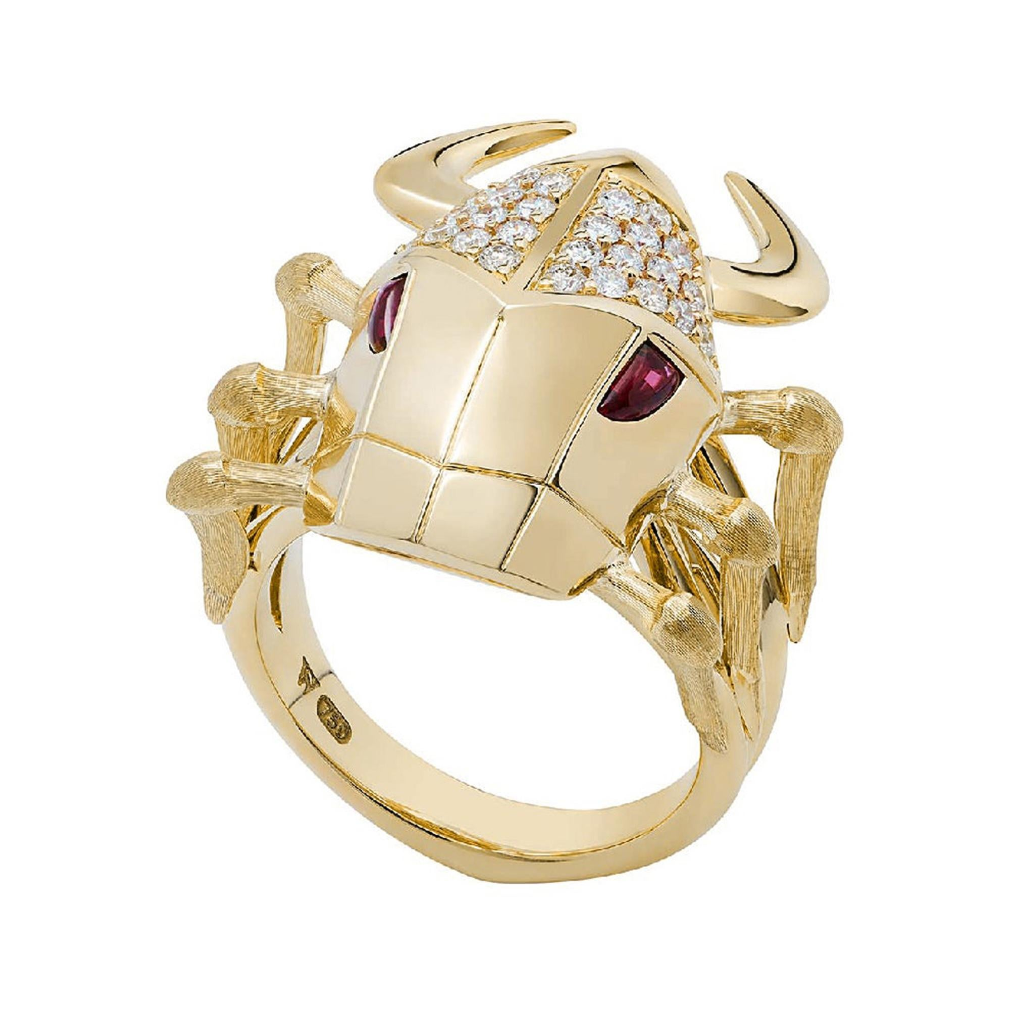 Stephen Webster Jitterbug Toro Beetle 18 Carat Gold with Cabochon Ruby Eyes Ring