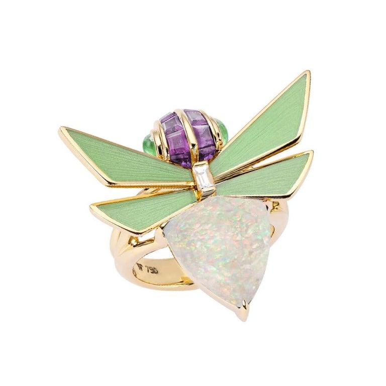 Stephen Webster Jitterbug White Opal Crystal Haze Set in 18 Karat Gold Ring
