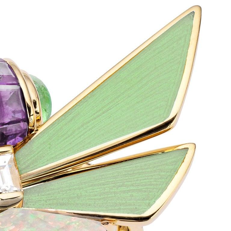 Baguette Cut Stephen Webster Jitterbug White Opal Crystal Haze Set in 18 Karat Gold Ring