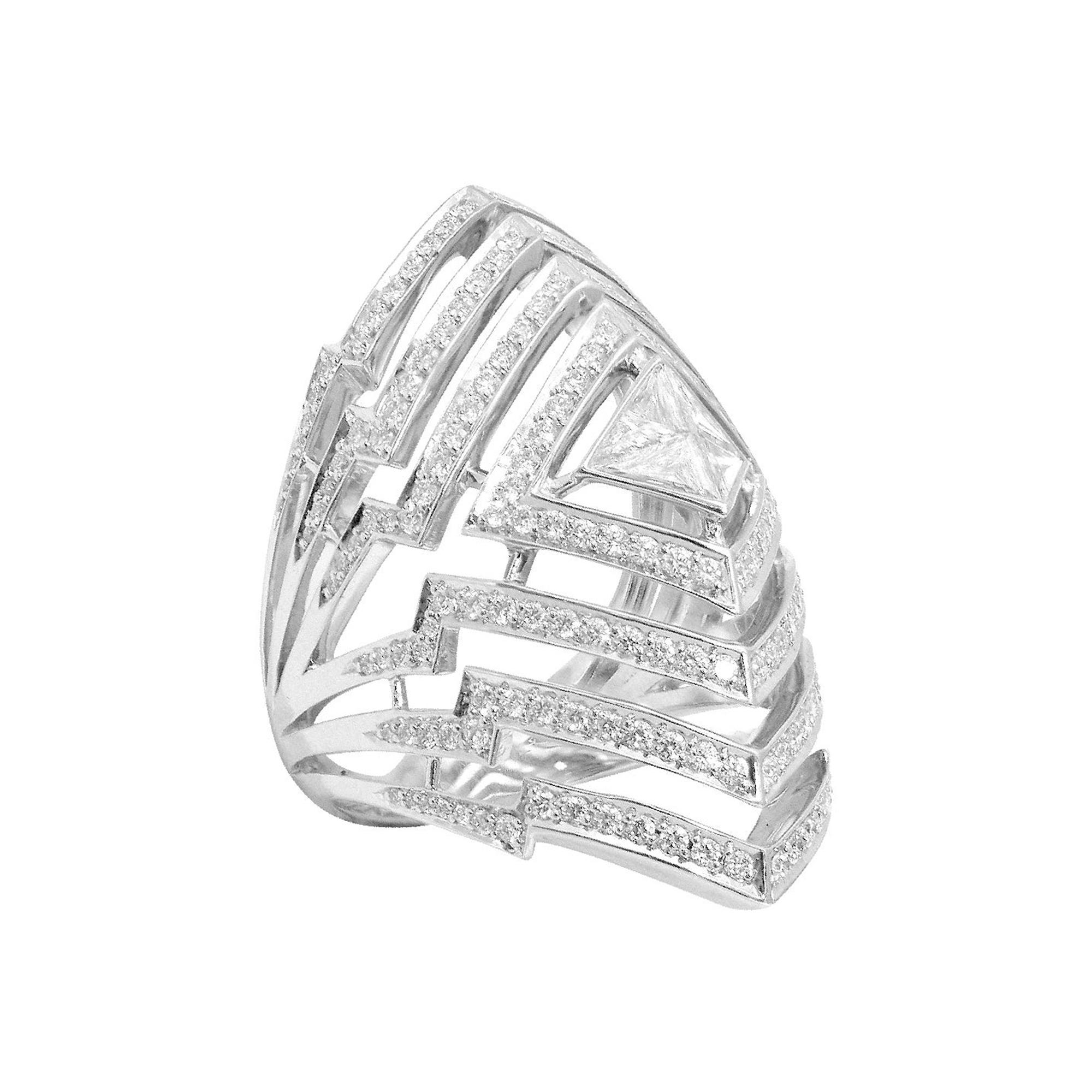 Stephen Webster Lady Stardust 18 Carat White Gold and White Diamond Pavé Ring