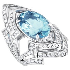 Stephen Webster Lady Stardust 18 Karat White Gold and Aquamarine Couture Ring