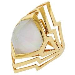 Stephen Webster Lady Stardust Mother of Pearl Quartz 18 Karat Gold Ring