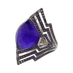 Stephen Webster Lady Stardust Sapphire Amethyst Gold Ring