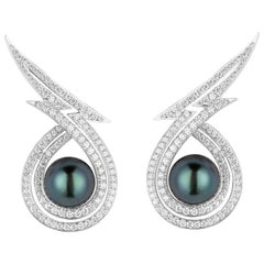 Stephen Webster Lady Stardust Tahitian Pearls and Diamond Earrings