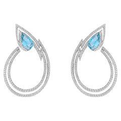 Stephen Webster Lady Stardust White Gold, White Diamond and Aquamarine Earrings