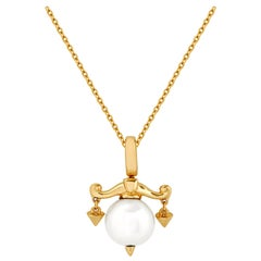 Stephen Webster Libra Astro Ball 18 Karat Yellow Gold and White Pearl Pendant