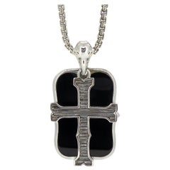 Stephen Webster London Calling Silver Cross and Onyx Dog Tag Necklace