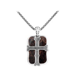 Stephen Webster London Calling Sterling Silver & Jasper Dog Tag Pendant Necklace