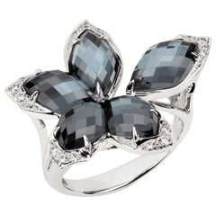Stephen Webster Love Me, Love Me Not Hematite Crystal Haze and White Gold Ring