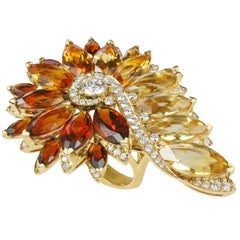 Stephen Webster Magnipheasant Citrine and White Diamond Feathers Cocktail Ring