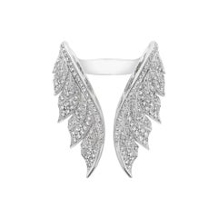 Stephen Webster Magnipheasant Pavé Open Feather 18ct White Gold and Diamond Ring