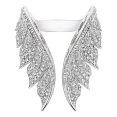 Stephen Webster Magnipheasant Pavé Open Feather White Gold and Diamond Ring