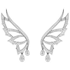 Stephen Webster Magnipheasant White Gold and White Diamond Pavé Drop Earstuds