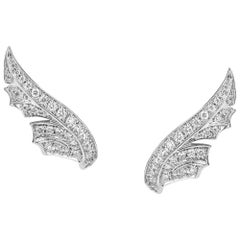 Stephen Webster Magnipheasant White Gold and White Diamond Pavé Feather Earstuds