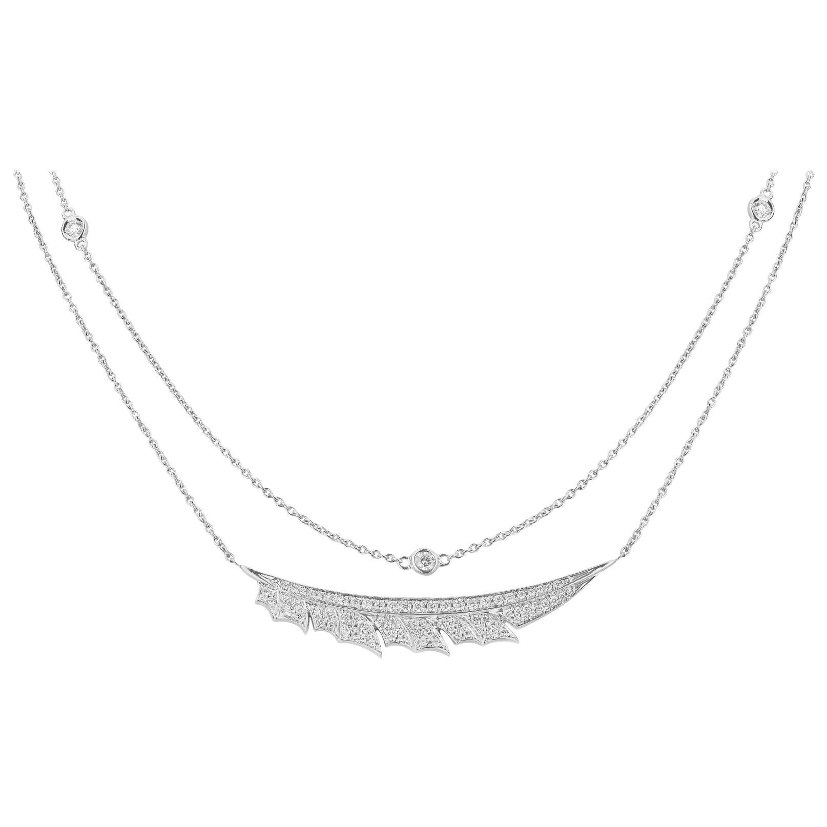 Stephen Webster Magnipheasant White Gold and White Diamond Pavé Feather Necklace